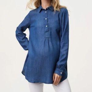 Loft The Softened Shirt maternity Henley Size XS